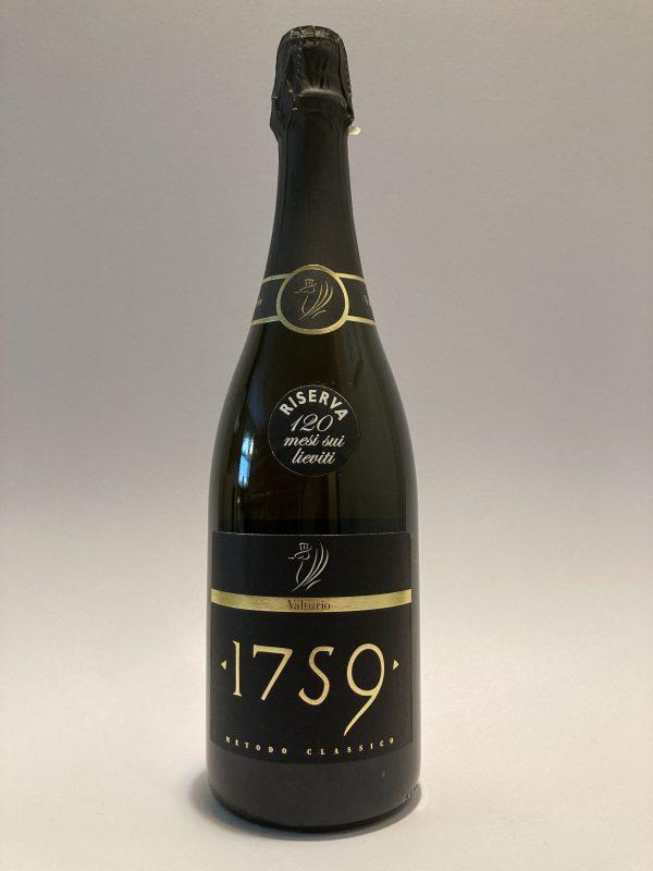 "Bottiglia vino spumante rosato italiano, metodo classico ""1759"" 120 mesi sui lieviti, Riserva Valturio"