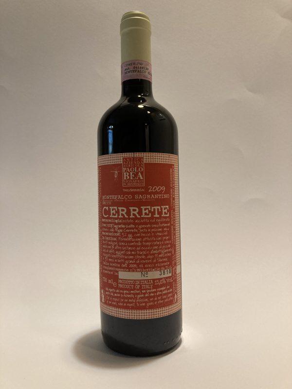 Vino rosso fermo umbro Montefalco Sagrantino Cerrete 2009 Paolo Bea